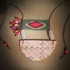 Ceramic necklace Seramik kolye Macrame micromacrame #macrame #ceramic