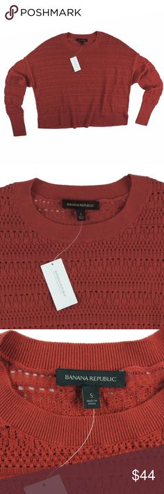 "New Banana Republic Rust Red Pontelle Boxy Sweater This new rust red pointelle knit sweater from Banana Republic features a crew neckline and boxy, roomy fit. drop sleeves. Made of a cotton blend. Measures: bust: 46"", total length: 22"", sleeves: 23"" Banana Republic Sweaters Crew & Scoop Necks"