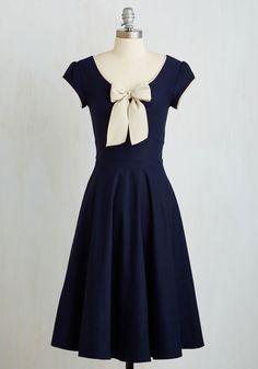All That and Demure Dress in Navy by Stop Staring! - Long, Woven, Blue, Solid, Bows, Daytime Party, Vintage Inspired, 50s, A-line, Best, 40s, Short Sleeves, Pinup, Variation