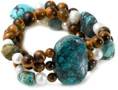3-Row Turquoise, Tiger Eye and White Freshwater Cultured Pearl Stretch Bracelet Amazon Curated Collection. $23.00. The natural properties and composition of mined gemstones define the unique beauty of each piece. The image may show slight differences to the actual stone in color and texture. The image may show slight differences in texture, color, size and shape. Made in China