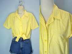 80s Vintage Picnic Blouse Yellow Gingham Soft by ShirleyBoutique
