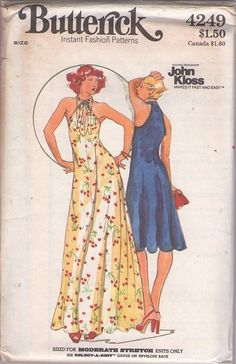 MOMSPatterns Vintage Sewing Patterns - Butterick 4249 Vintage 70's Sewing Pattern SUPER FOXY Young Designer John Kloss Twisted Peekaboo Keyhole Neck, Cutaway Arm Flared Disco Party Dress, Slinky Evening Maxi Gown Size 14
