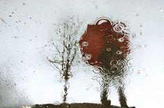 Red umbrella reflection by photosbykaren on Etsy