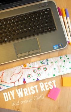 how to make a computer wrist rest decorated with your child's artwork for for practically free!