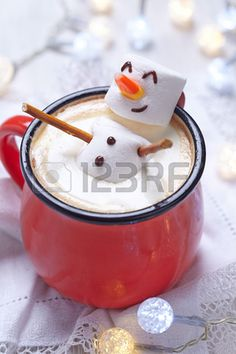 Red Mug With Hot Chocolate With Melted Marshmallow Snowman Stock Photo, Picture And Royalty Free Image. Image 48603211.