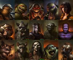 Teenage Mutant Ninja Turtles, revamped by Dave Rapoza. Love the looks on the turtles faces.