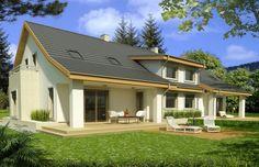 Jaś bliźniaki wersja B to projekt domu bliźniaczego, przeznaczonego dla dwóch 3-7 osobowych rodzin. Zadaszony taras sprawia, że domownicy mogą cieszyć się nim zarówno w słoneczne, jak i deszczowe dni. Centralnie położony kominek stanowi serce domu.