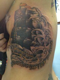 Classic Ship Tattoo Shine A Light Guide Me Home