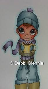 Ive used Polar Blue as the darker shading on his hat, gloves and trousers, along with the lighter Pebble Blue flexmarker. Winter Berry as the dark shading on the scarf, with Lavender promarker as the lighter shade. Frosted Leaf is the lighter shade on his jacket, and Ive used Khaki promarker for the darker shading. I used Eggnog to colour the mug, with Pastel Yellow promarker and a touch of Pink Mittens for some of the marshmallows. The image is Cocoa Boy by Saturated Canary.   Letraset…