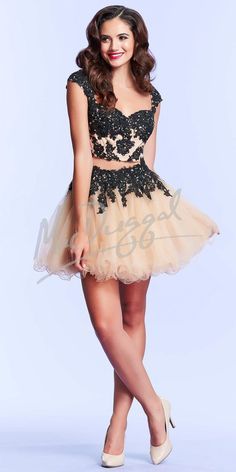 Sexy Appliques Short Two Piece Prom Dresses 2015 Champagne Cap-sleeve Tulle Dresses for Prom Vestidos de Curto Formatura