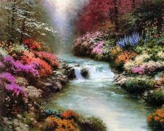 Beside Still Waters Thomas Kinkade art for sale at Toperfect gallery. Buy the Beside Still Waters Thomas Kinkade oil painting in Factory Price.