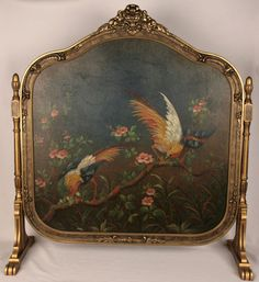 Art Nouveau Oil Painting Pheasants Old Gold Gilt Fireplace Fire Screen