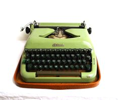 1950 Vintage European Working Typewriter Biser Pearl Green Stylish Small Portable Yugoslavia Office Industrial Decor Typing Machine Writing by WoodHistory on Etsy
