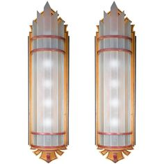Oversized Art Deco Wood and Glass Wall Sconces