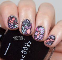 So beautiful Lace Stamping & Floral Pattern Nail Design - Reny styles Nail Art Cute, Cute Nails, Pretty Nails, Hair And Nails, My Nails, Manicure, Nailart, Floral Nail Art, Pin On