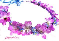 Blumenkranz *DORA* violett blau Oktoberfest Dirndl von Lebenslust2in1 auf DaWanda.com