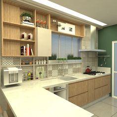 Projeto de uma Cozinha | Usamos tons neutros, madeira, um pouco de cor na pintura da parede e aproveitamos todos os espaços na parede da janela, conseguimos encaixar até uma hortinha ali! Projeto para clientes queridos ☺️😄