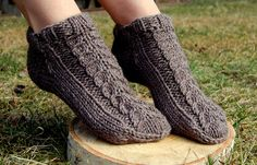 Hand knit wool slippers, Hand knit wool socks, from luludress by DaWanda.com
