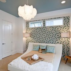 Teenage Girl Bedroom Design, PPD, neutral blue gray, wall paper