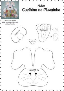 Crafts for preschools : Template Bunny in the Plaquinha Felt Crafts, Diy And Crafts, Crafts For Kids, Easter Projects, Easter Crafts, Happy Easter, Easter Bunny, Carillons Diy, Easter Templates
