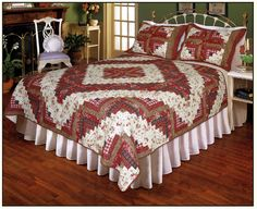 Decorate your master bedroom or special guest room with the Ruby Red Log Cabin Quilt Set from Elegant Decor. Known for their vibrant color combinations, wonderful designs and exceptional value, the quilt set includes the quilt and standard sham(s). Log Cabin Quilt Pattern, Log Cabin Quilts, Log Cabins, Ruffle Bedding, Bedding Sets, Quilt Bedding, Traditional Quilts, Queen Quilt, Quilt Sets
