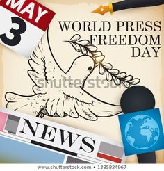 Peace dove in hand drawn style with journalist's elements: microphone, newspaper, pen and calendar ready to celebrate World Press Freedom Day this May. Freedom Day, Peace Dove, World Press, Special Promotion, Finding Peace, New Pictures, Royalty Free Photos, Newspaper, Prison