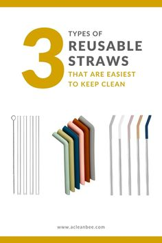 Clean and sanitize your favorite reusable straws using simple tools and cleaning materials. #lowwaste #zerowaste #reusablestraw #plasticfree #plasticfreestraw #cleaningtips #cleaningtipsandtricks #sustainablestraws