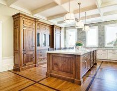 Transitional U-shaped White kitchen, white cabinets, those floors are amazing