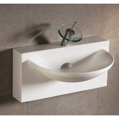 Whitehaus Collection Isabella Wall Mount Bathroom Sink with U-shaped bowl and Integral Rear Center Drain in White