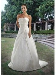 Taffeta Rouched Bodice Strapless Sweetheart Neckline Rouched Bodice Wedding Dress