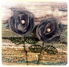 #organza flowers #handmade card - Blue organza flower card by Stitchmikki