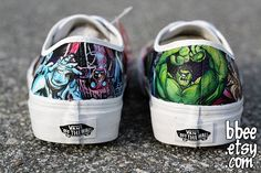 Hand Painted Marvel Comic Shoes size 8 mens / 95 women by BBEE