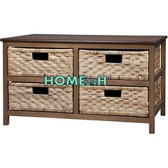 Home24h co,.ltd: 4 Drawers Natural Water Hyacinth Cabinet
