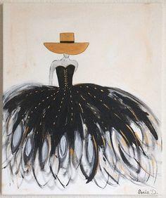 C'est un tableau moderne qui représente une femme dans une robe de couleur noir et or  sur une toile de dimension 55x46. Peinture contemporaine et moderne.  Les couleurs utilis - 19391991