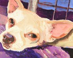Chihuahua Art Print of Original Acrylic Painting  от dogartstudio