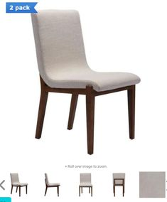 Set Of 2 Zuo Hamilton Dining Chair In Beige Linen
