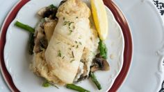 Sole stuffed with Crabs and Roasted Asparagus on the blog http://steakbytes.com/recipes/sole-stuffed-scallops-crab-roasted-asparagus-mushroom-risotto/  To order: http://www.omahasteaks.com/product/Stuffed-Sole-with-Shrimp-and-Garlic-12-45-oz-00388?SRC=RZ0636