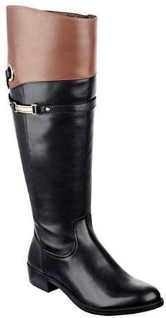Tommy Hilfiger ONLINE EXCLUSIVE - Delphy Wide-Calf Knee-High Leather Boots