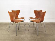 Set of 4 Original Arne Jacobsen Series 7 Chairs in Teak on Etsy, $1,095.00