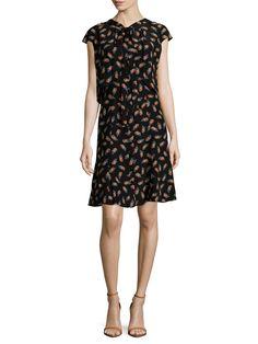 Carolina Herrera Silk Feather Printed Shirtdress