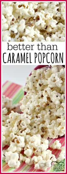 Better Than Caramel Popcorn is gooey and deliciously sweet! The coating for the popcorn is made with butter, sugar and whipping cream - that's it! Popcorn Snacks, Candy Popcorn, Flavored Popcorn, Butter Popcorn, Gourmet Popcorn, Popcorn Balls, Popcorn Mix, Sugar Coated Popcorn Recipe, Sugar Popcorn