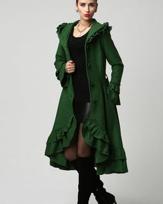 Boho Coat, emerald green coat, Dark green coat, Womens coats, Maxi ...