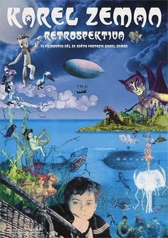 Japanese movie poster for Karel Zeman Retrospective Ver:B - Karel Zeman. Gatefold Rare design that folds out to a size poster as shown in the main image. Fantasy Films, Film Director, Stop Motion, 2000s, Live Action, Cinema, Animation, World, Artist