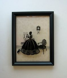 Reverse Glass Painted Silhouette Victorian Parlor with Convex Glass A Reborn Item