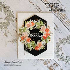 #TGIFC282 -- Inspiration Challenge | Swimming In Stamps Fabric Stamping, Stamping Up, Fall Cards, Christmas Cards, Christmas Wreaths, Xmas, Leaf Cards, Wink Of Stella, Thanksgiving Cards