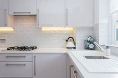 Image Gloss Kitchen makes this compact kitchen light and airy. Gloss Kitchen, Kitchen Cabinets, German Kitchen, Compact Kitchen, Kitchen Images, Bespoke Kitchens, Kitchen Lighting, Kitchen Design, Home Decor