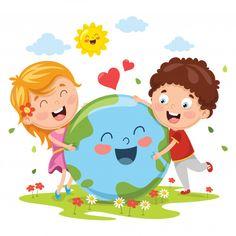 Illustration of earth day Premium Vector Cartoon Kids, Cute Cartoon, Student Cartoon, Drawing For Kids, Art For Kids, Earth Day Drawing, Earth Day Crafts, School Frame, School Murals