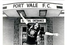 Lemmy outside Vale Park in August, 1981, ahead of the concert