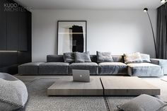 New ideas for living room couch gray interior design Home Living Room, Interior Design Living Room, Living Room Designs, Living Room Decor, Interior Colors, Gray Interior, Paint Colors For Living Room, Tiles For Living Room, Minimalist Home