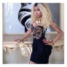Splurge: Nicki Minaj's Love More Video Versace Studded Medusa Bathing... ❤ liked on Polyvore featuring nicki minaj, people, pictures, nicki and pics
